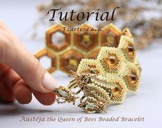Austeja the Queen of Bees Beaded Bracelet Tutorial Beading | Etsy Wrap Bracelet Tutorial, Beaded Bracelets Tutorial, Beaded Bracelet Patterns, Beaded Wrap Bracelets, Earring Tutorial, Tassel Bracelet, Flower Bracelet, Seed Bead Tutorials, Bead Weaving