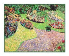 The Garden in Auvers inspired by Impressionist Vincent Van Gogh's Painting Counted Cross Stitch or Counted Needlepoint Pattern