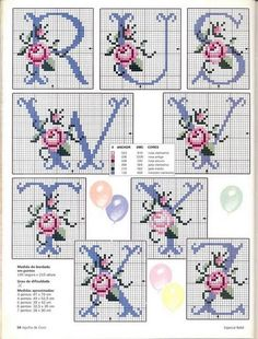 Rose Alphabet cross stitch alphabet 3 of 3 Cross Stitch Letters, Cross Stitch Love, Cross Stitch Needles, Cross Stitch Flowers, Cross Stitch Charts, Cross Stitch Designs, Embroidery Alphabet, Embroidery Monogram, Ribbon Embroidery
