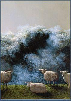Michael Sowa ~ sheep at the cliff Michael Sowa, Wilhelm Busch Museum, Sheep Art, Art Database, Watercolor Animals, Watercolor Painting, Animal Paintings, Les Oeuvres, Illustrators