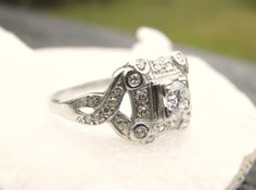 Platinum Diamond Ring Old European Cut Diamond Fancy by Franziska, $1050.00