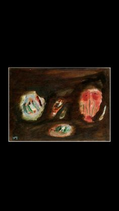 """Henri Michaux - """" K 254 (fait partie de la Série des """"Appartions"""" )"""", c. 1982 - Huile sur toile contrecollée sur toile - 24.2 x 33 cm (*) Henri Michaux, Art Informel, Trees To Plant, Watercolor, Abstract, Drawings, Artist, Plants, Paintings"""