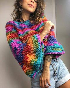 Crochet Shirt, Crochet Cardigan, Knit Crochet, Hippie Crochet, Crochet Girls, Crochet Designs, Crochet Patterns, Rainbow Crochet, Knit Fashion