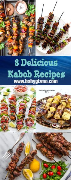 8 Delicious Kabob Recipes! Perfect for grilling inside & out! #Grilling #Kabobs