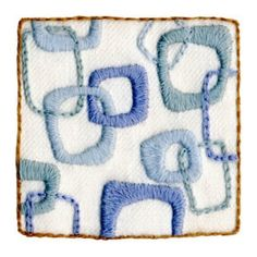The Hip Squares Crewel Embroidery Kit from Wool & Hoop features a modern crewel embroidery design by artist Katherine Shaughnessy.  Crewel kit includes 3x3 inch design printed on 100% linen fabric, 100% wool thread, needles, blank greeting card, matching envelope, and complete instructions. $16.95