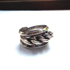 5eee4a7aad0 Sterling Silver Men s Twisted Rope Ring - Size 11 - Vintage 1970 s Vintage  Prstene