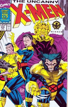 The Uncanny Xmen #275 Double-Sized Gate-fold Cover 1990. Chris Claremont Writer. Jim Lee Cover & Pencils. The Starjammers led by a mysterious Warlord force their way on the royal Behemoth flagship in order to turn back the Shi'ar Throne to Lilandra usurped by her sister Deathbird, the Starjammer found their welcome by the imperial guard, the x-men are prisoners of Deathbird's pet Manacle, Wolverine freed himself with a little help of Jubilee but he was nearly killed by Deathbird…