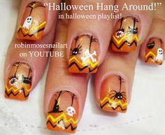 Nail-art by Robin Moses- Chevron Halloween!