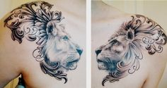 This beautiful tattoo of a lion and lioness incorporates heraldic designs to add to the symbolism of royalty « « Ratta Tattoo