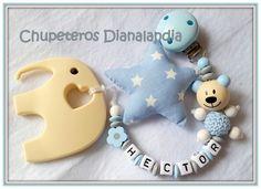 Chupetero con mordedor elefante 2 en 1 de Dianalandia por DaWanda.com