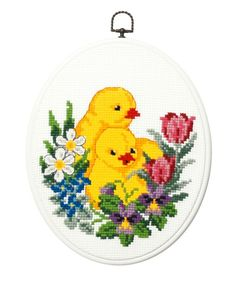 Tavla 20 x 25 cm. Cross Stitch For Kids, Cute Cross Stitch, Cross Stitch Bird, Cross Stitch Flowers, Cross Stitch Designs, Cross Stitching, Cross Stitch Embroidery, Cross Stitch Patterns, Easter Flower Arrangements