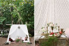 lace tent in the woods | picnic lunch