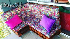 Recordando este sillón esquinero de doble altura con ruedas! #palet #pallet #wood #color #craft #diy #couch #palletfurniture #sillon