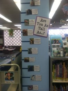 Are you as tall as a zebra or a penguin? Thanks to the Children's Room at Burbank Central Library for this cute and mathematical display!
