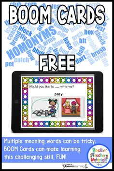 Multiple Meaning Words Made Easy with BOOM Cards Multiple meaning words also know as homonyms can be a little tricky at times. It seems like almost every word in the English language now has more than one meaning. For example not only is a kid a child it Speech Therapy Activities, Language Activities, Kindergarten Activities, Speech Language Pathology, Speech And Language, Classroom Freebies, Classroom Ideas, Google Classroom, Interactive Learning