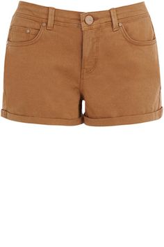 A key trend for the season, these denim shorts have a coloured finish and matching buttons and trims.