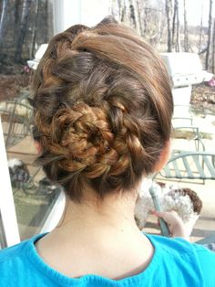 French braid twirl I did on my little sister. So cute and classy. Held with bobby pins:)