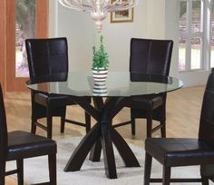 Dining Table with Round Glass Top in Rich Cappuccino - Coaster by Coaster Home Furnishings, http://www.amazon.com/dp/B002PBWDRU/ref=cm_sw_r_pi_dp_i-E0rb00D1CKX