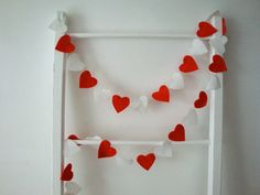 Mini Heart Garland // Red and White Felt by StampAndStitch on Etsy, Heart Garland, Red Felt, Mini Heart, Red And White, Holiday, Etsy, Vacations, Holidays, Vacation