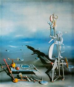 Yves Tanguy – Indefinite Divisibility, 1942 - A curious turn on association and subconscious. The mystery of the painting leaves it open to interpretation, with hints of uncertainty in the blurred horizon and domination blue palette.