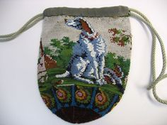 Fantastic Victorian micro bead work purse with big dog