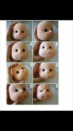 nose shaping for amigurumi cro - Diy Crochet Doll, Crochet Pouf, Giraffe Crochet, Crochet Faces, Crochet Bear, Cute Crochet, Freeform Crochet, Crochet Stitch, Easter Crochet Patterns