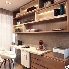 """Renzo Cerqueira on Instagram: """"Home office com uma super marcenaria aconchegante. Projeto: At arquitetura e interiores. ⠀ Confira também: @decoreseuespaco ⠀ →Use…"""""""
