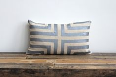 Metallic silver & natural handprinted organic hemp pillow cover 12x21. $70.00, via Etsy. (For the couch)