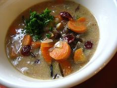 Classic fall flavors of cranberries and wild rice are cooked with vegetables in a colorful, simple, warming and delicious bowl of soup that will make a big impression on your diners