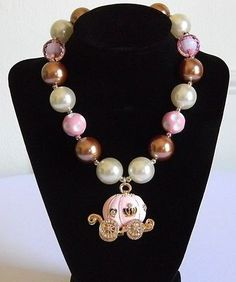 Girls Boutique Necklace Costume Jewelry Cinderella Pink & Gold Enamel Carriage
