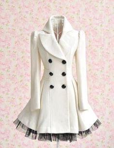 Gorgeous Fashion Ladies Twill Yarn Swing Double-breasted Woolen Coat