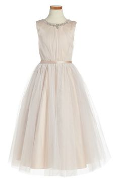 Free shipping and returns on Joan Calabrese for Mon Cheri Sleeveless Tulle Dress (Toddler Girls, Little Girls & Big Girls) at Nordstrom.com. Faceted, jewelry-inspired crystals shimmer at the neckline of an enchanting sleeveless dress fashioned with a gauzy tulle overlay and slim satin belt at the waist.