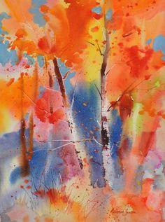 Fall Impression IV - Watercolors by Deborah Swan-McDonald