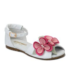 Look at this Amoreco Cream & Pink Flower Ankle-Strap Sandal on #zulily today!
