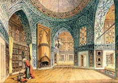 Interior of the Harem (Topkapi Palace (?), Islambol, Ottoman Caliphate) -Amadeo Preziosi (Painter; 1816-1882 CE)