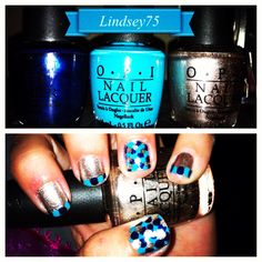Nail art by me! Champagne, navy, and turquoise. Follow me on instagram -lindsey75 :)