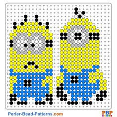 Minions perler bead pattern. Download a great collection of free PDF templates for your perler beads at perler-bead-patterns.com