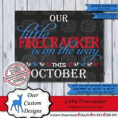 This JANUARY little firecracker printable chalkboard pregnancy announcement poster or baby reveal ph Chalkboard Pregnancy, Pregnancy Signs, Baby Reveal Photos, Valentines Pregnancy Announcement, Little Valentine, Photo Props, Firecracker, New Baby Products, Printable
