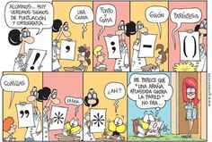 Cute comic for starting off a lesson about punctuation symbols in Spanish. Ha I giggled at the end.