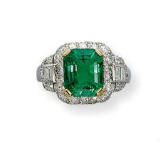 AN EMERALD AND DIAMOND RING Set with an octagonal-shaped emerald weighing carats to the pavé-set diamond border and shield-shaped shoulders with baguette-cut diamond detail, mounted in platinum, ring size 7 Affordable Diamond Rings, Unique Diamond Rings, Round Diamond Engagement Rings, Love Knot Ring, Diamond Ring Settings, Bridal Ring Sets, Conflict Free Diamonds, White Gold Rings, Diamond Cuts