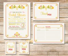 bridal shower package invitations thank you cards tags