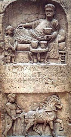 Depiction of feasting was a common motif in Roman funerary art. The diner is represented reclining on a couch, with other furniture and dining gear. This is the tombstone of auxiliary cavalryman M. Aemilius Durises from Bonn, Germany. Photograph Barbara McManus (Vroma), Bonn, Rheinisches Landesmuseum.