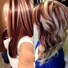 Trendy hair color highlights and lowlights low lights fall 70 Ideas Hair Color And Cut, Haircut And Color, Cool Hair Color, Hair Colors, Red Hair With Highlights, Red Blonde Hair, Balayage Hair, Brown Balayage, Hair Lengths