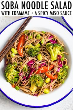 Hello new favorite vegan lunch! This EASY soba noodle salad edamame and spicy miso sauce are packed with plant-based protein, colorful veggies, and savory flavor. Enjoy hot or cold! Easy Japanese Recipes, Asian Recipes, Real Food Recipes, Vegetarian Recipes, Cooking Recipes, Ethnic Recipes, Vegetarian Kids, Ramen Recipes, Kid Recipes
