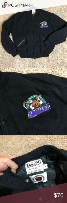 DeLong NHL Wool Varsity Jacket Minnesota Moose Good condition. Slight piling, shown on pics. Material is shown in pics. Quilted inside. Wool outside DeLong Jackets & Coats Bomber & Varsity