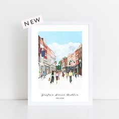 Grafton Street, Dublin archival print from an original gouache illustration by Helen Magee in her studio in Delgany, Co. Grafton Street, Dublin Ireland, Pigment Ink, Beautiful Islands, Watercolor Paper, Gouache, Vibrant Colors, Irish, Hand Painted