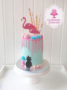 Flamingo - Dripcake - Cake by Carolinchens Zuckerwelt Flamingo Cake, Flamingo Birthday, Luau Birthday Cakes, Bird Cage Cake, Nake Cake, Cupcake Flavors, Drip Cakes, Buttercream Cake, Fancy Cakes