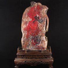 Huge Chinese Red Chicken Blood Stone Flower Bird Statue