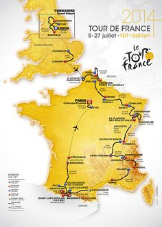 Le-parcours-du-Tour-de-France-2014.. Starts in England this year - a so excited I cannot wait for it all to begin ...A...