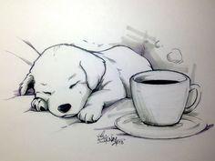 "Coffee Doggy ""No coffee can keep this little one awake."" Line art: Sakura Micron… - #architecture"